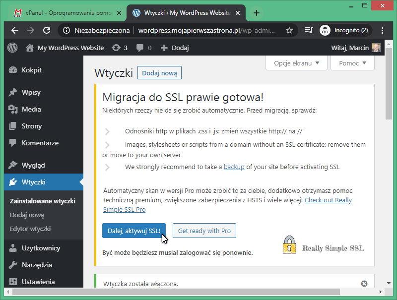 Aktywacja certyfikatu SSL przy pomocy wtyczki WordPress Really Simple SSL.