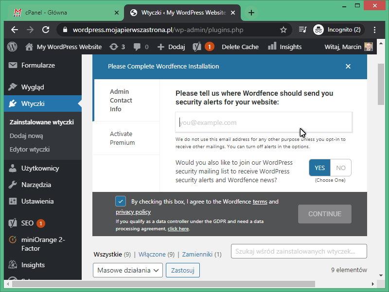 Konfiguracja adresu do przekazywania alertów we wtyczce Wordfence Security