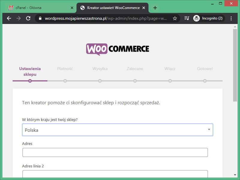 Kreator konfiguracji sklepu internetowego WordPress.
