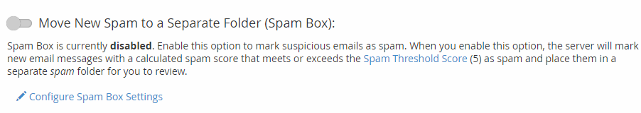 cpanel mserwis Move New Spam to a Separate Folder (Spam Box)