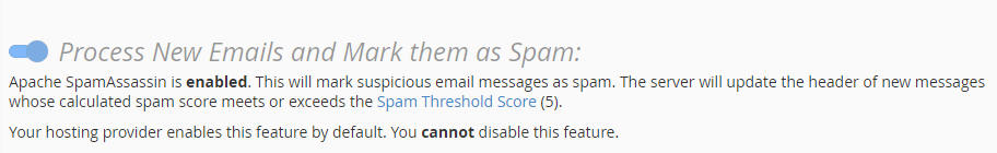 cpanel mserwis Process New Emails and Mark them as Spam