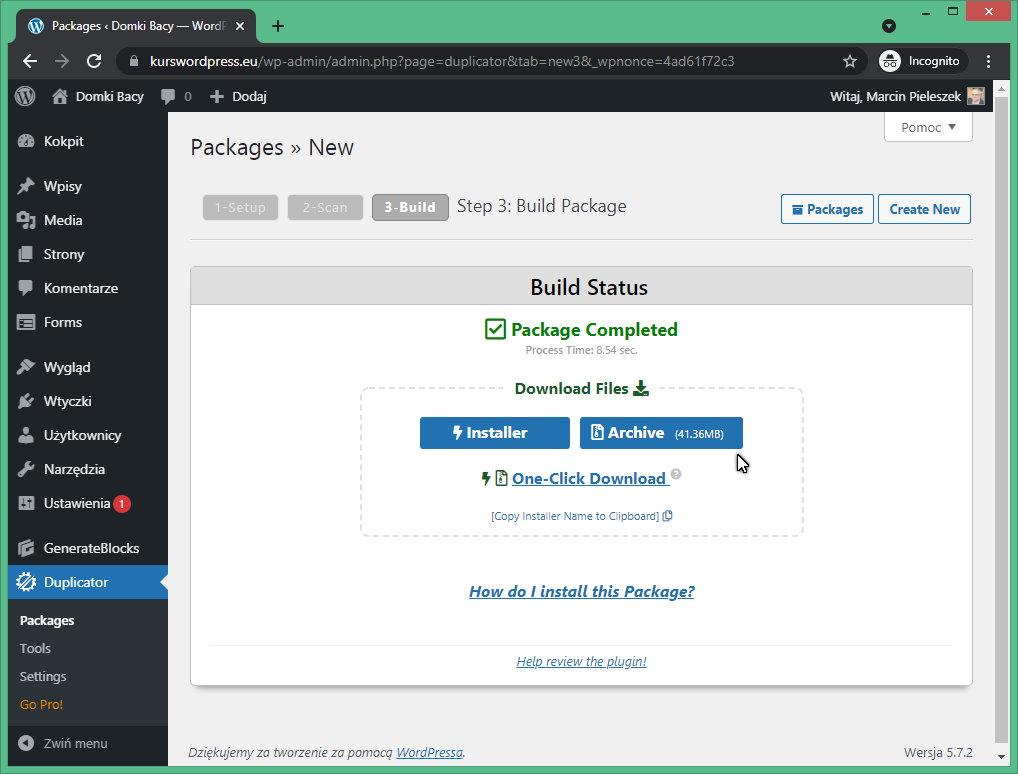 Rysunek6 Zapisanie kopii zapasowej na dysku w WordPress Duplicator